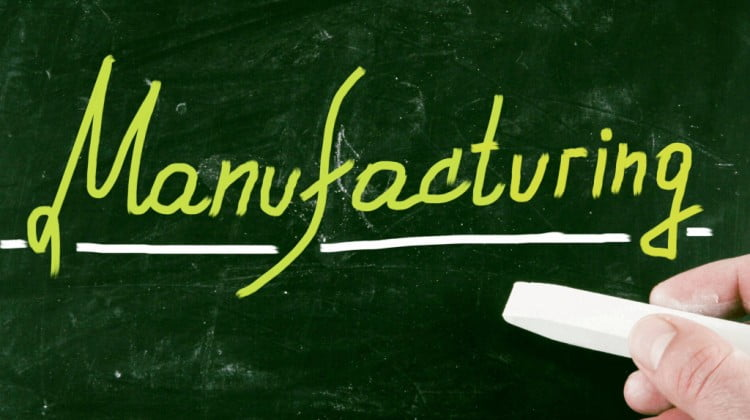 manufacturing is written on a chalkboard