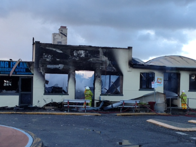 The destroyed King Island Pharmacy.