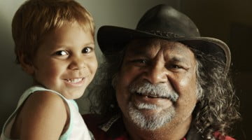 Aboriginal man and child: close the gap
