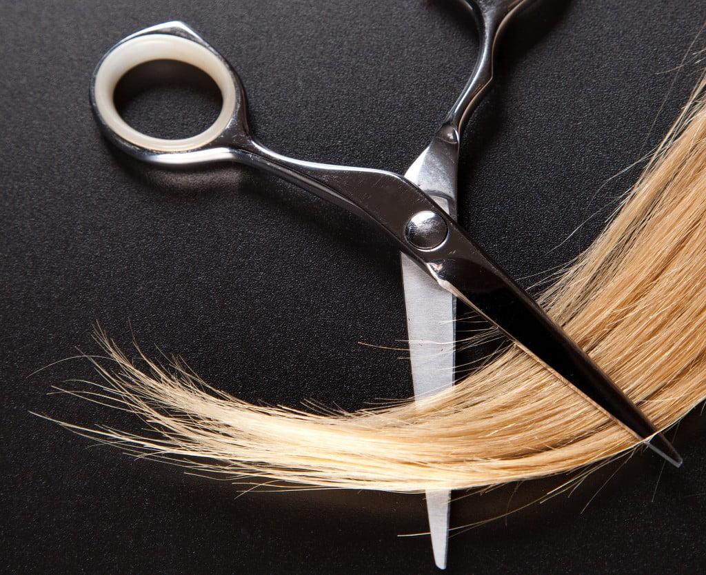 hair testing: scissors snip lock of blonde hair