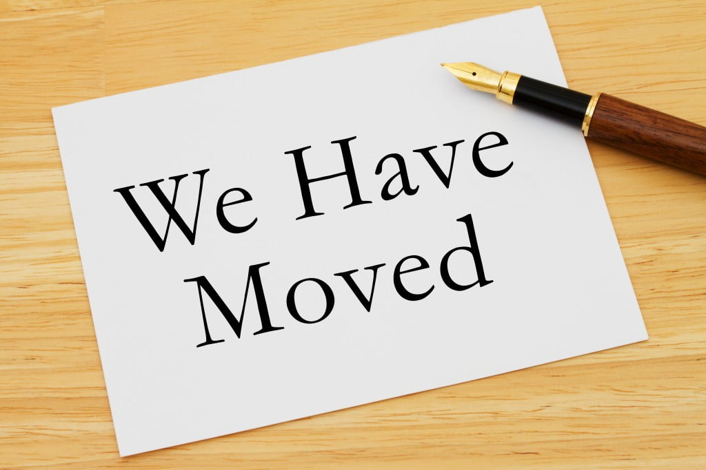 """PSA has moved: sign says """"we have moved"""""""