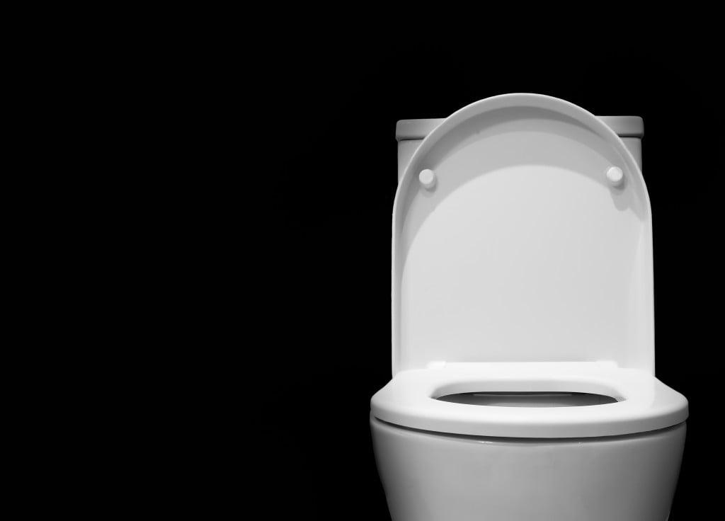 bowel cancer screening: open toilet on black background