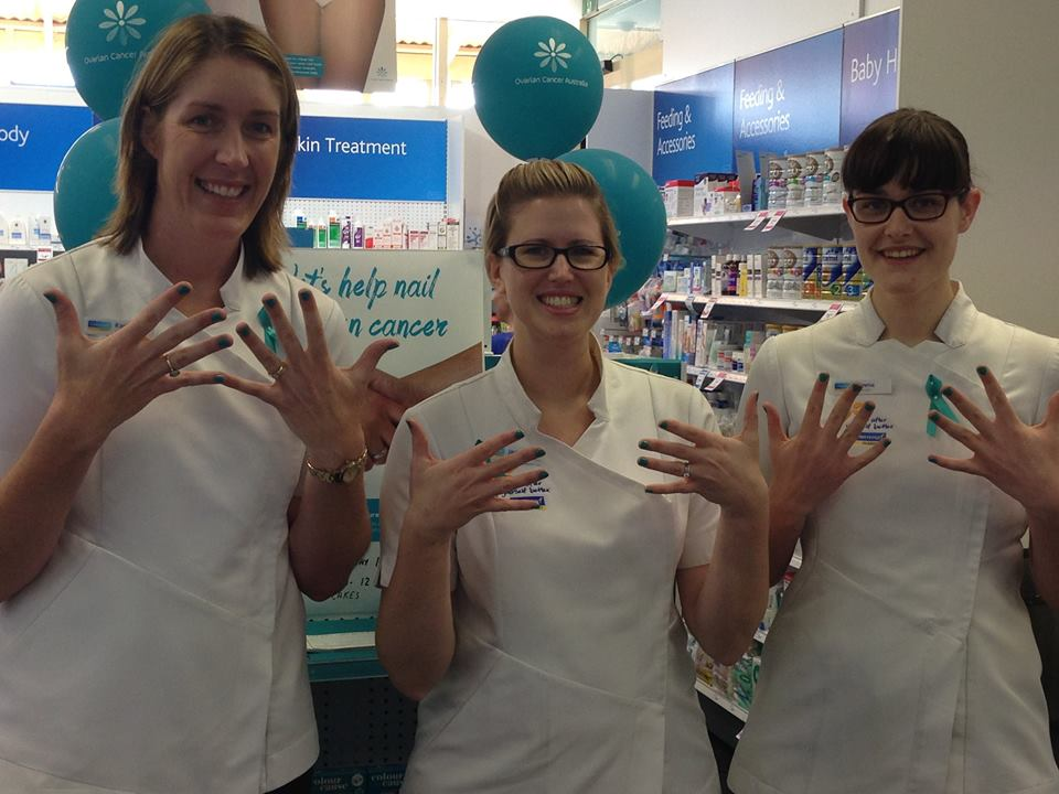 Rachel Brown and team, raising awarenes for ovarian cancer