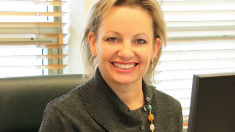 Sussan Ley at desk (6Th community pharmacy agreement talks)