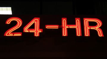 24 hour pharmacy neon sign