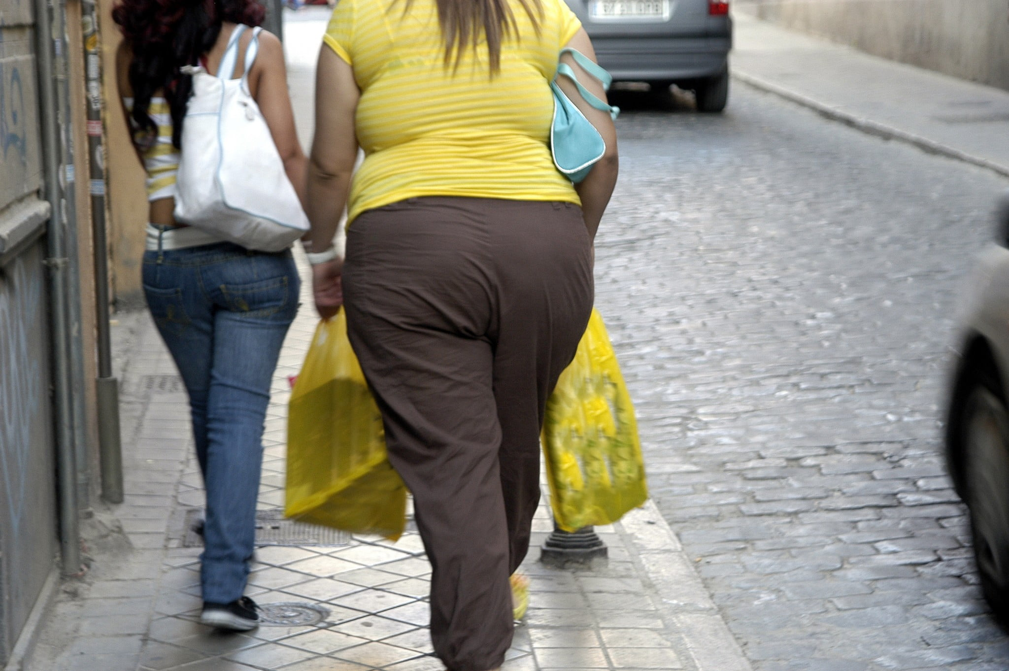 lifestyle diseases: obesity: fat woman walks along the street with thinner friend