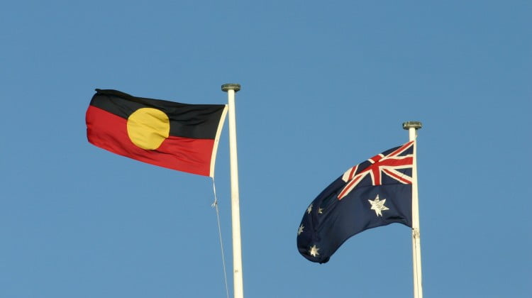 Aboriginal flag flies next to Australian flag