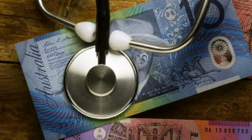 stethoscope and australian dollars