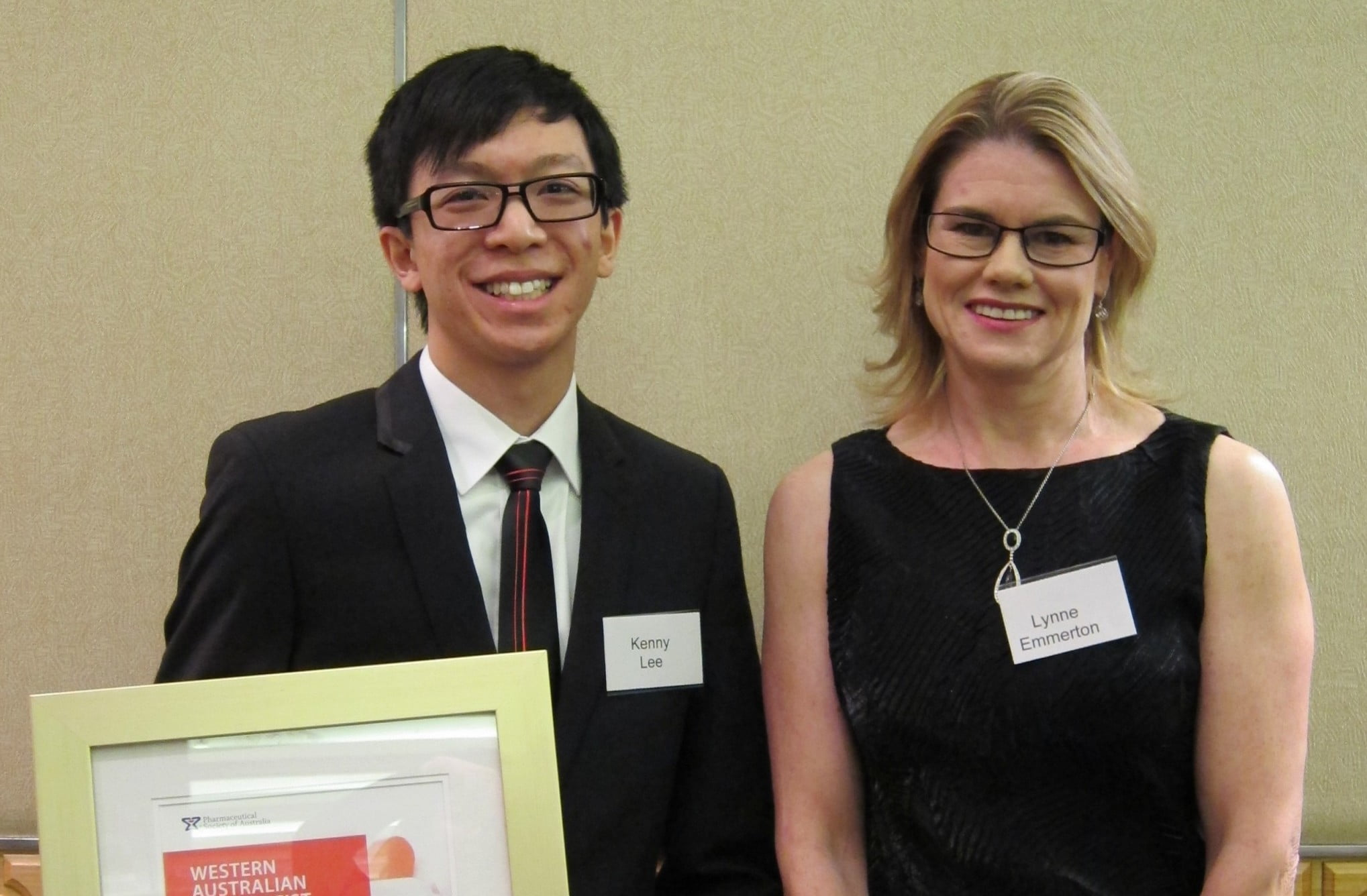 WA's pharmacists: young pharmacist of the year Kenny Lee with supervisor A/Prof Lynne Emmerson