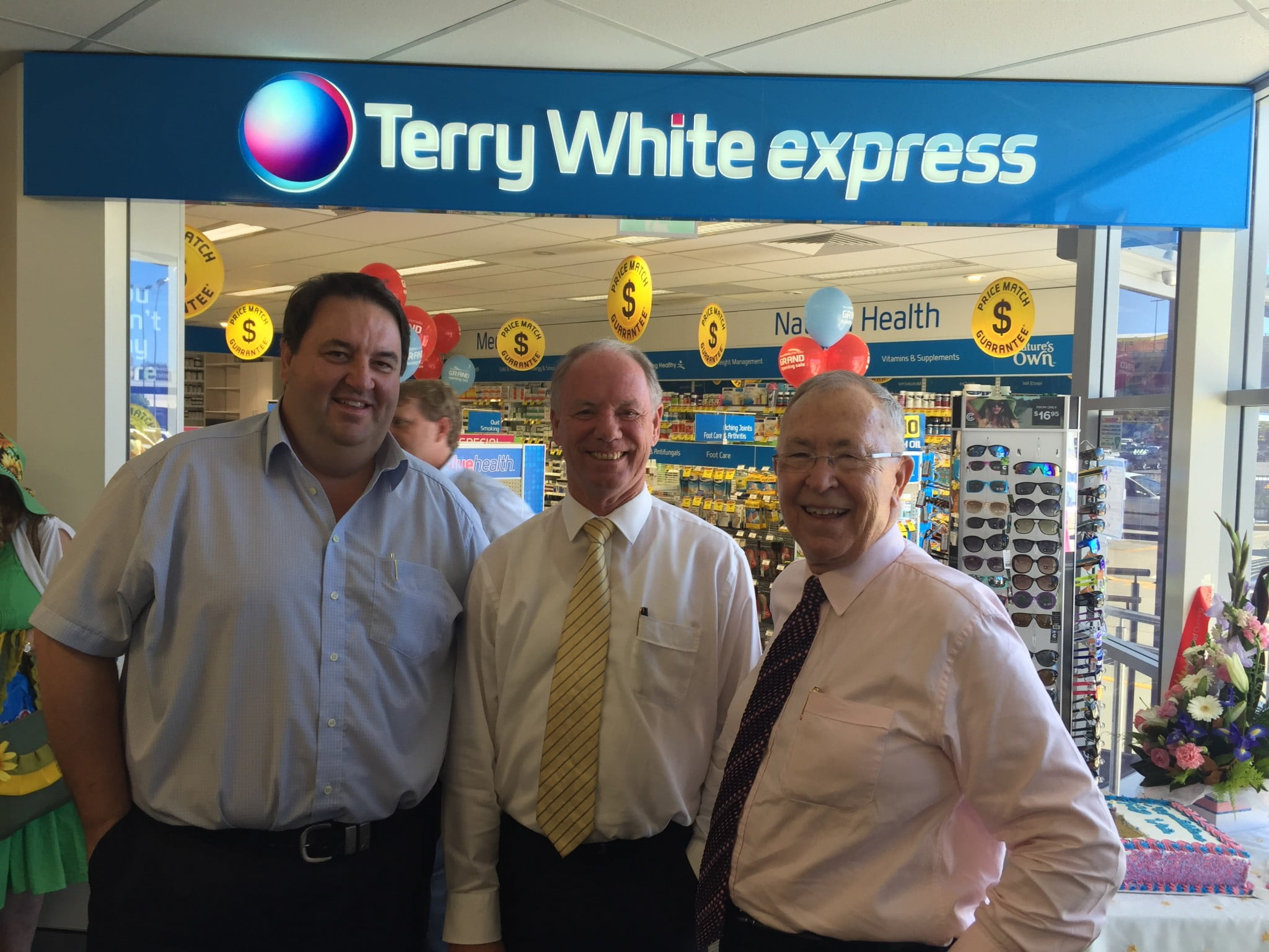 Steve Gooley (General Manager, Bachrach Naumburger Group), Andrew Fraser MP (Member for Coffs Harbour) and Terry White (Founder and Chairman, Terry White Chemists