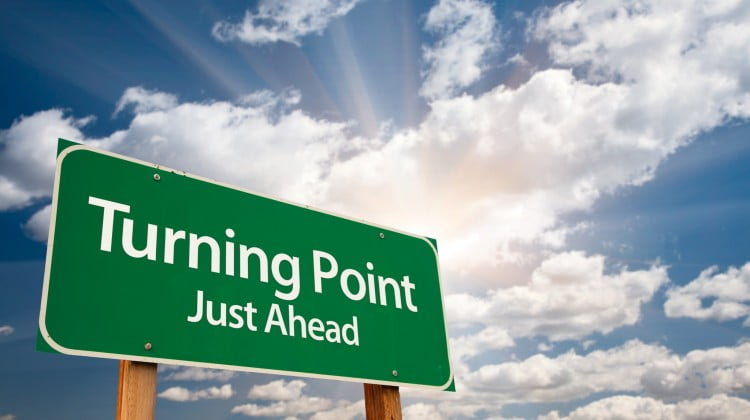 """road sign says """"turning point"""" - 6CPA"""