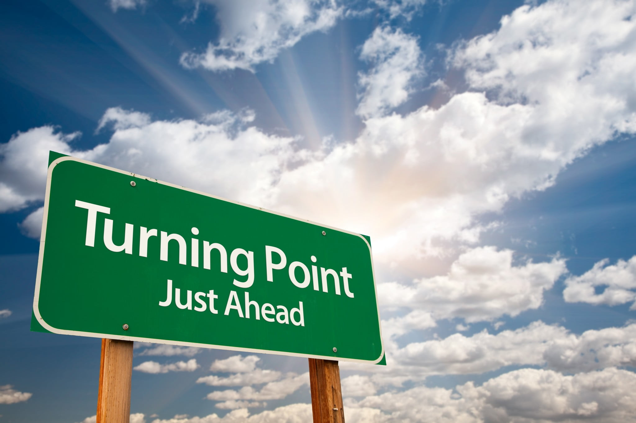 "road sign says ""turning point"" - 6CPA"