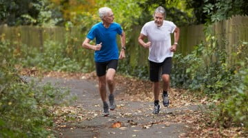 exercise: two mature men jogging