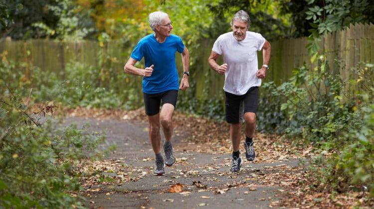exercise: two mature men jogging