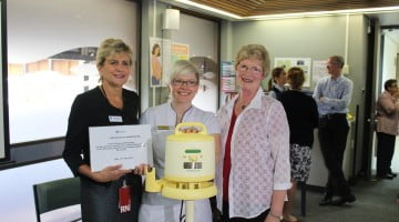 Calvary CEO Karen Edwards, Charnwood Capital Chemists's Samantha Kourtis, and the pharmacy's registered nurse and midwife Gayle Broadbent