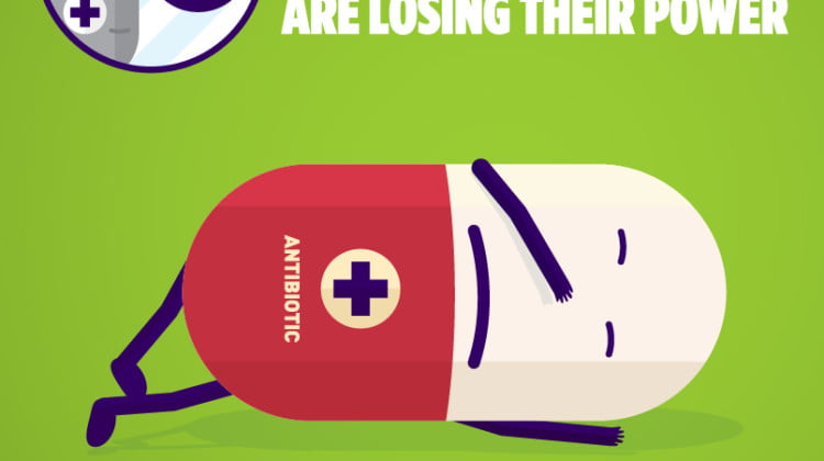 NPS antibiotic resistance poster shows defeated cartoon antibiotic lying on its side