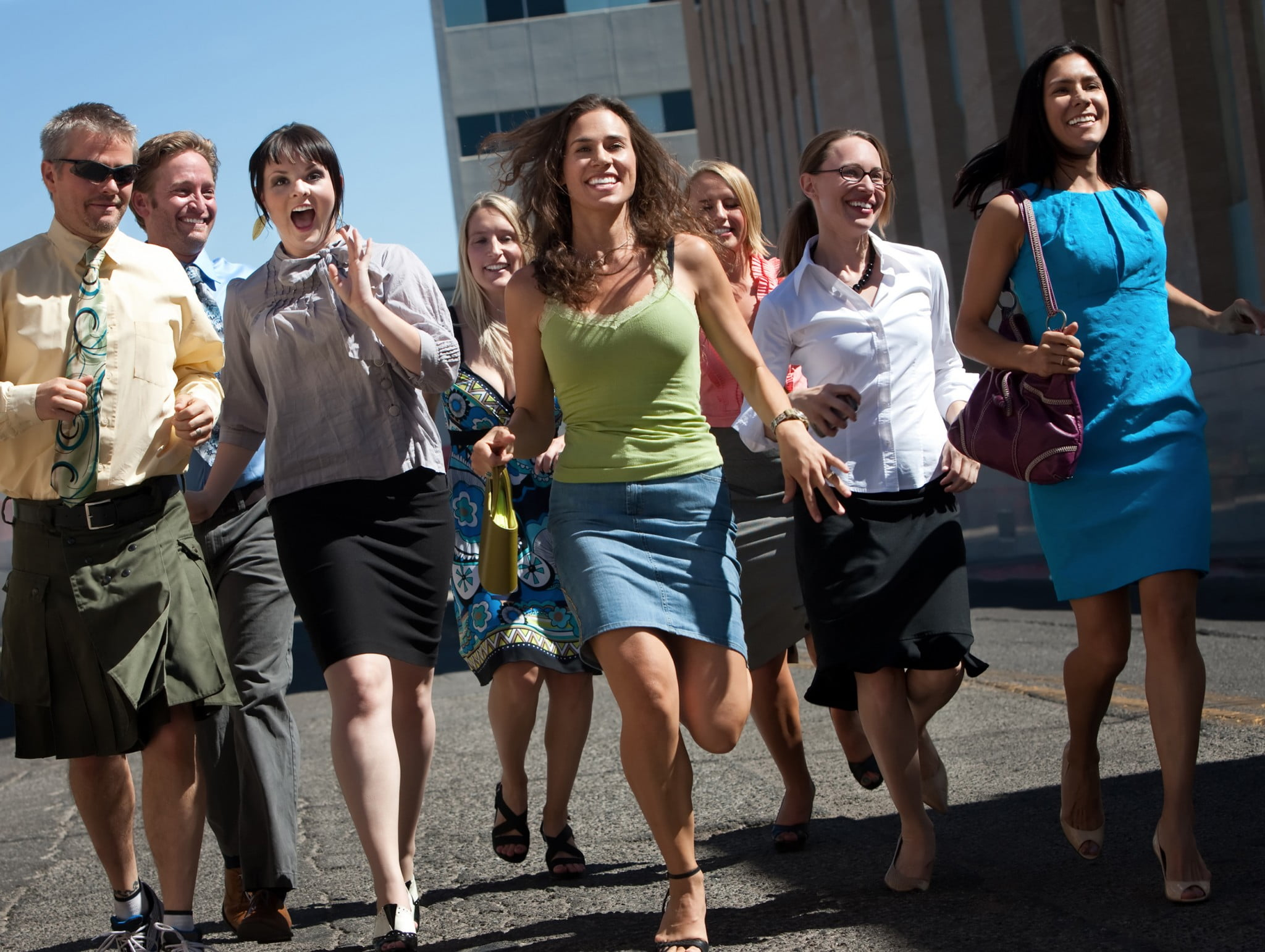 be more active: business workers walk down the street