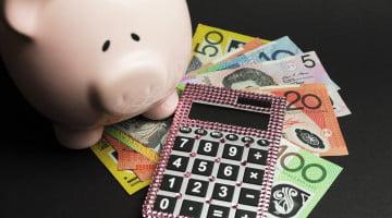 piggy bank, money and calculator