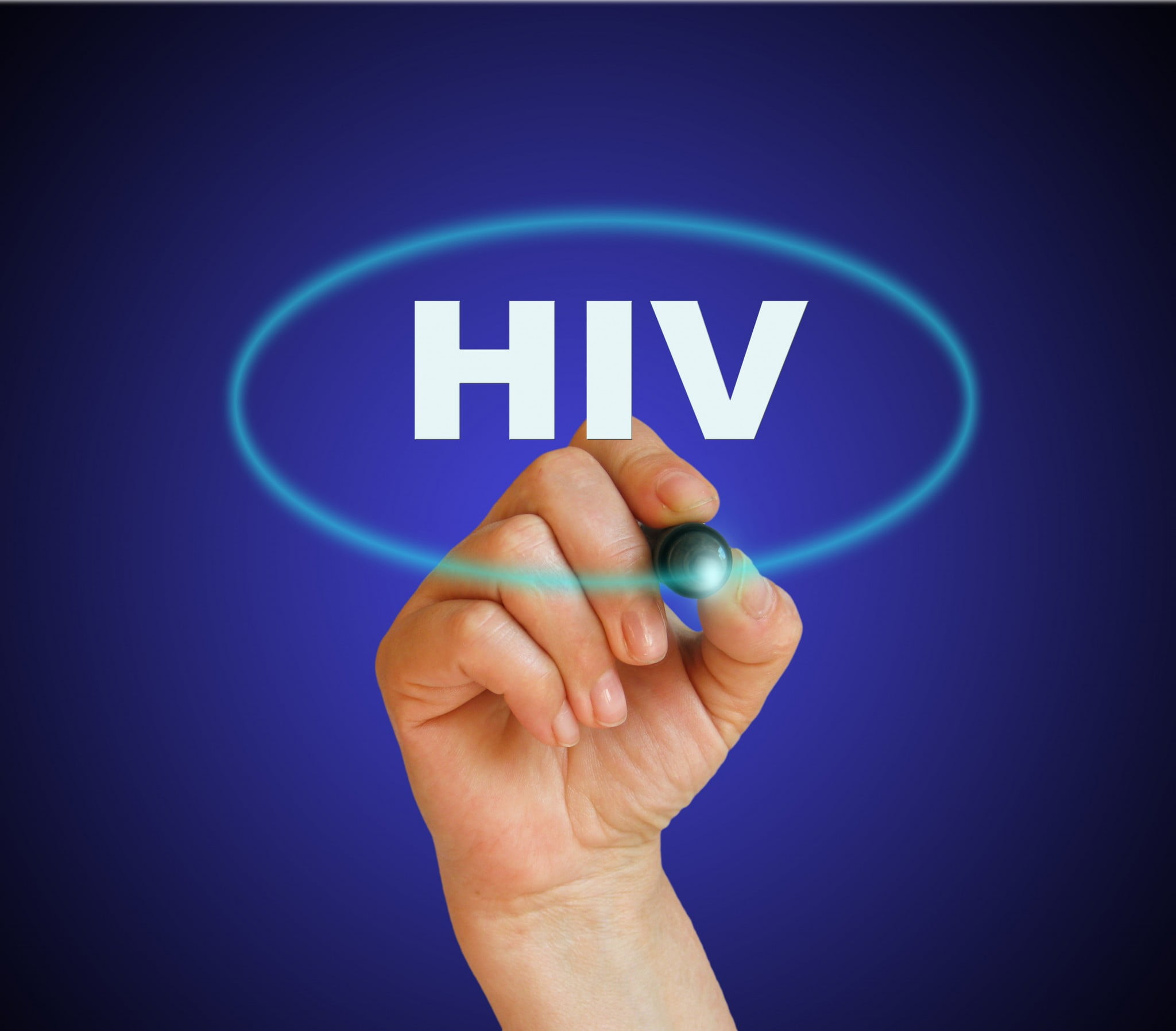 "hand circles the word ""HIV"" on glass: HIV treatments"