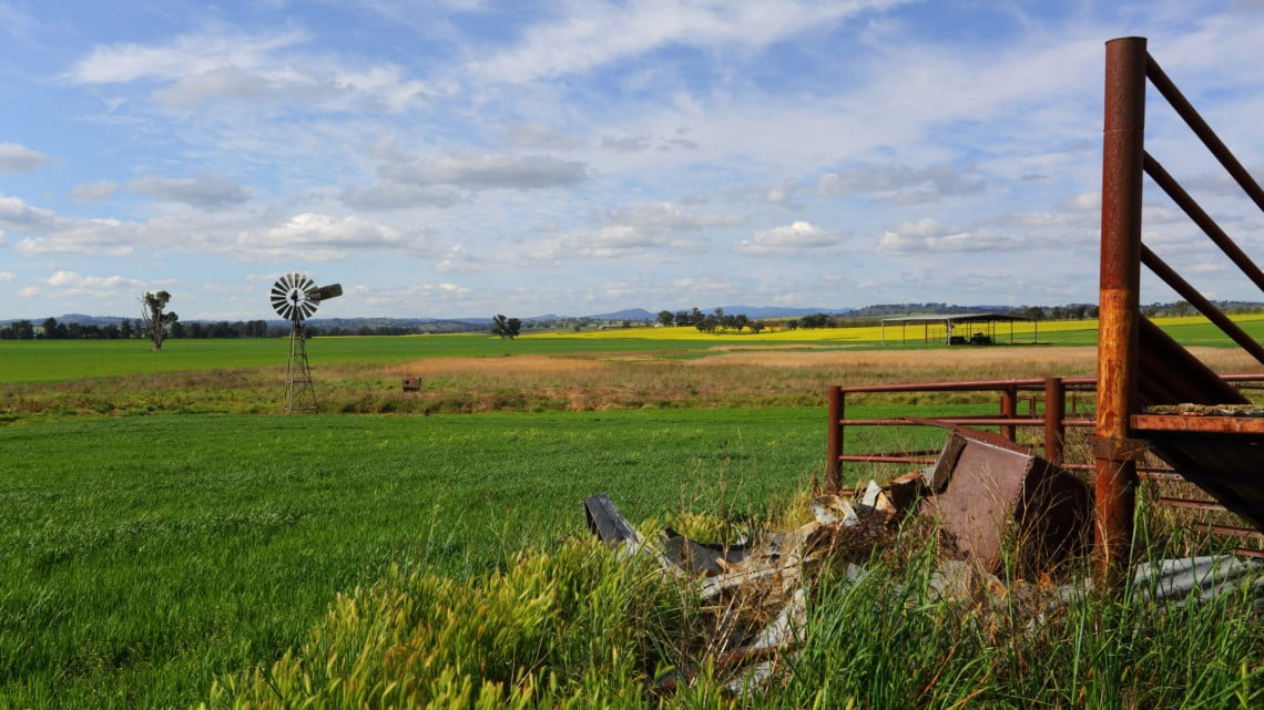 young pharmacists should go rural, says Gill: regional Australian landscape with windmil