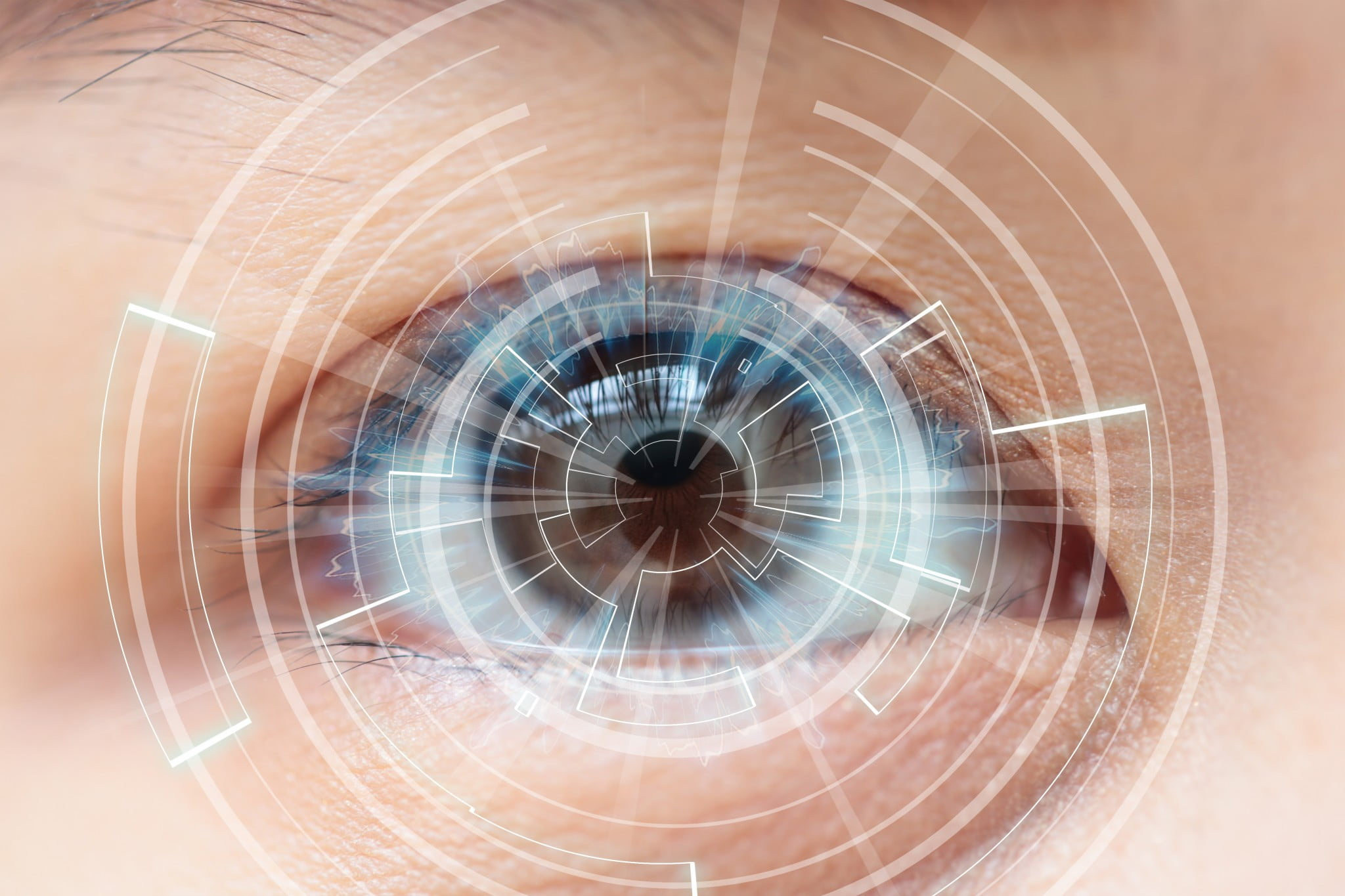 macular degeneration - closeup on eye with lots of high tech crosshairs