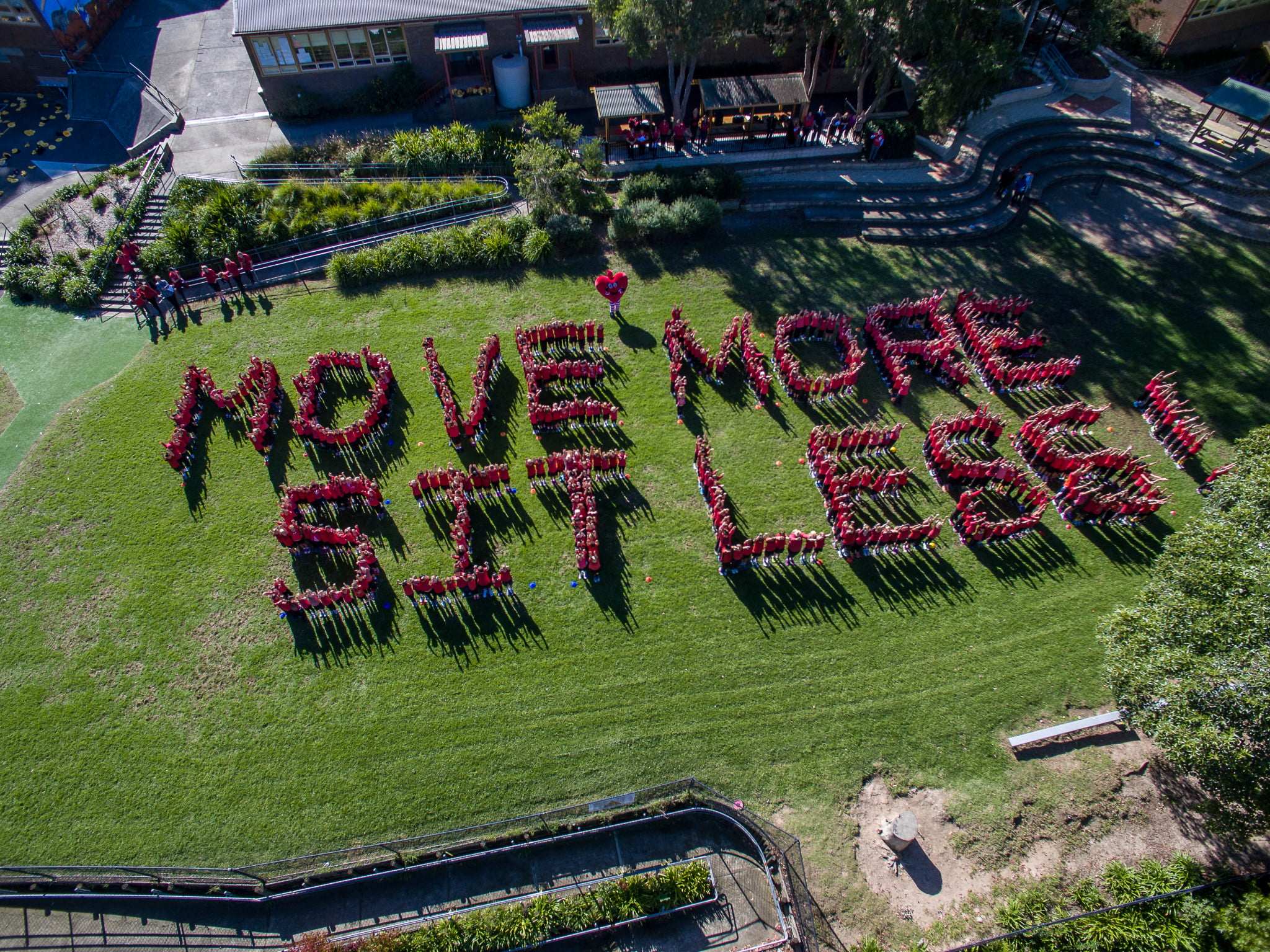 "Pymble Public School students spell out ""Move more sit less"""