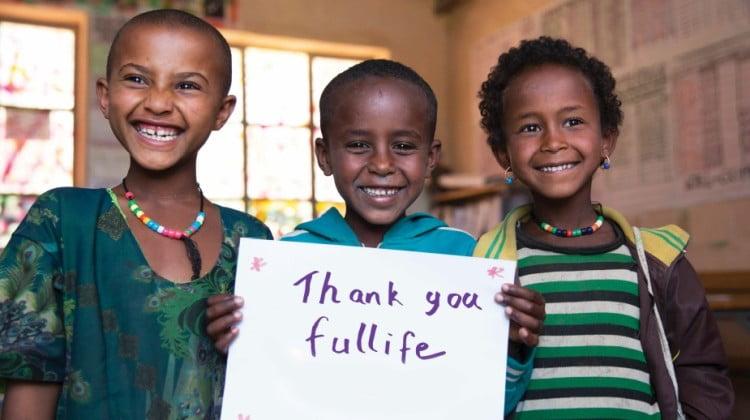 Fullife Pharmacy's sponsor kids in Ethiopia - three children smiling