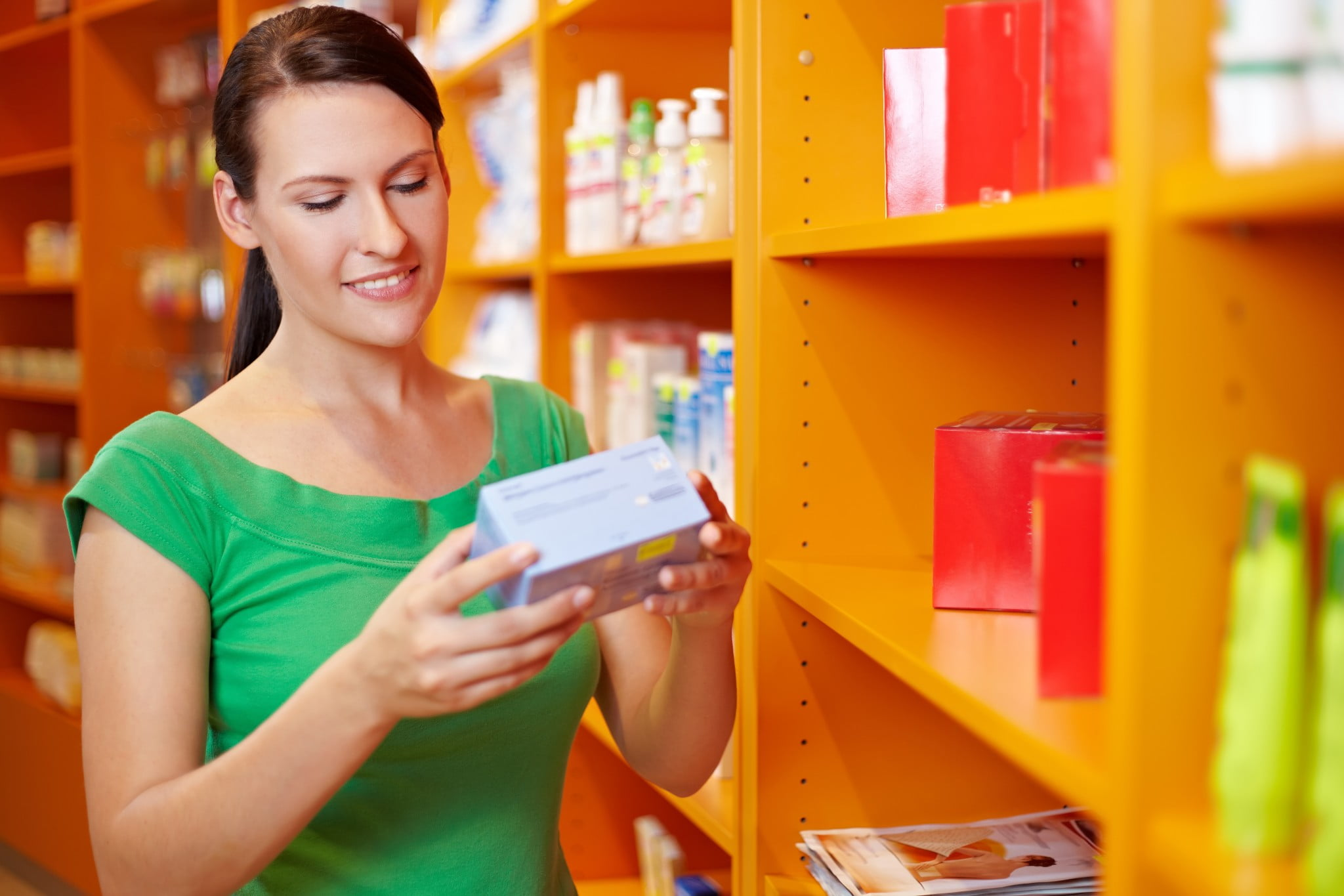 self care: woman shopping in pharmacy