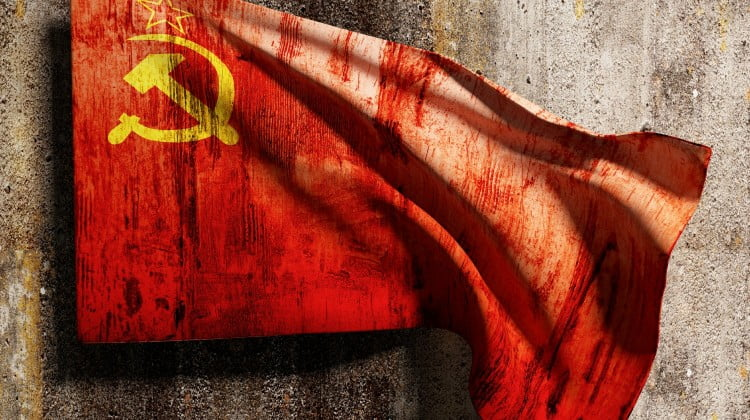 3d rendering of an old soviet flag on a dirty wall (Leyonhjelm story)
