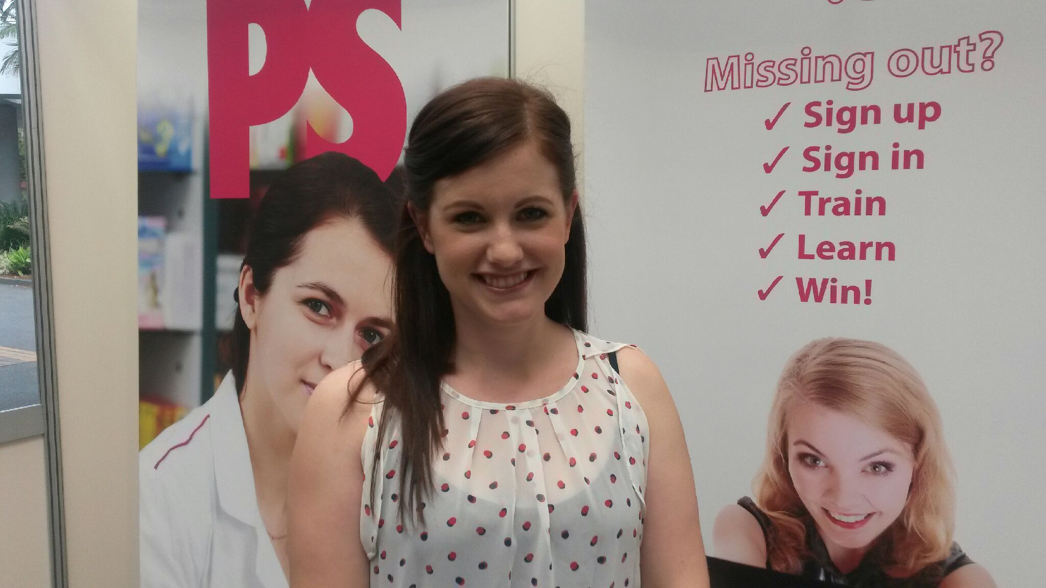 pharmacy assistant of the year 2014 Dimity Doddridge at the Post Script stand