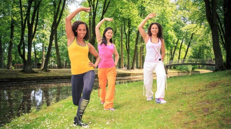 diabetes: three women exercising in a park