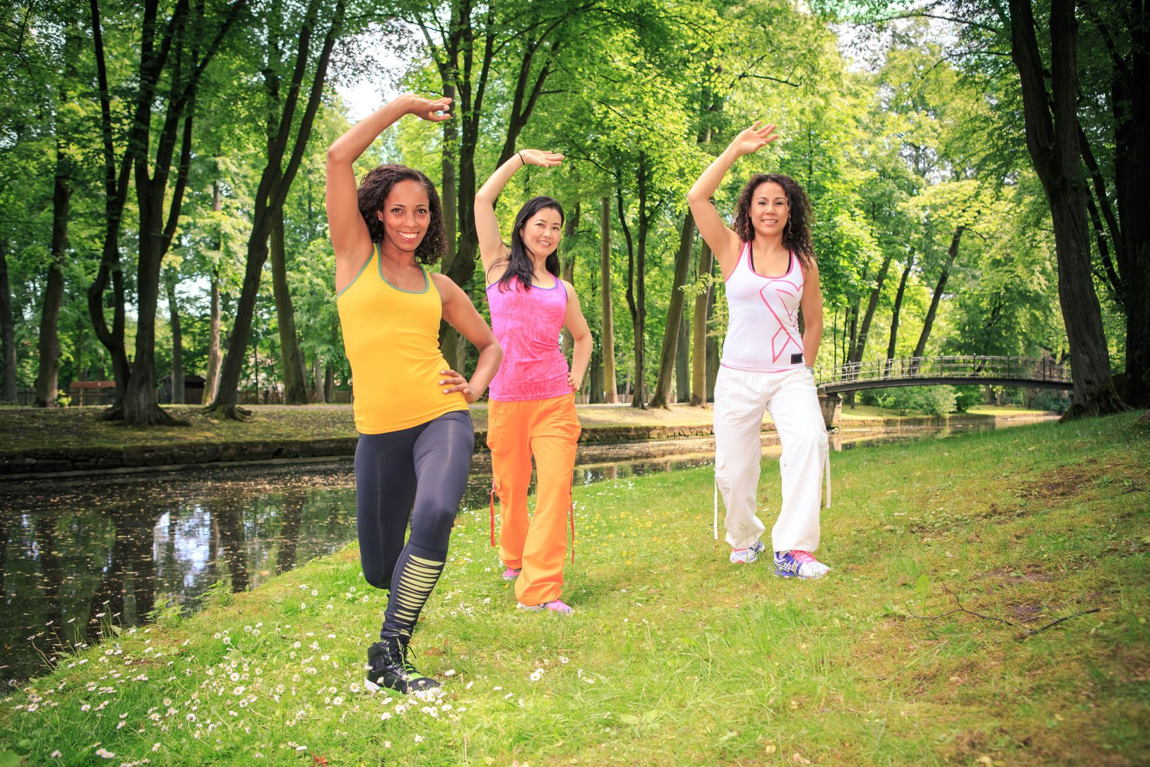 diabetes: three women exercising in a park