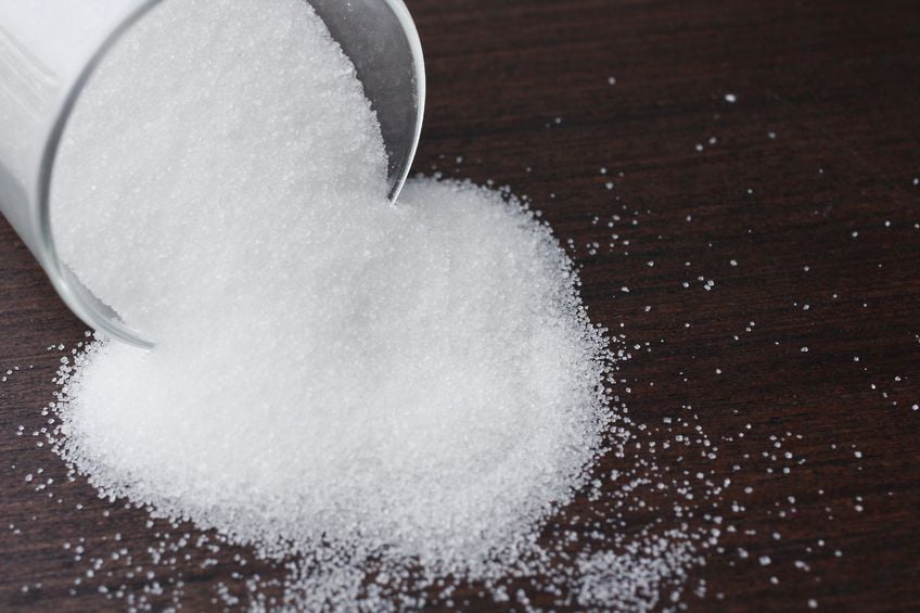 TPP: sugar spills on black background