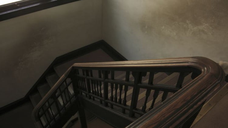 falls: ominous old-fashioned stairwell