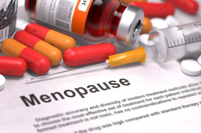 menopause text and pills