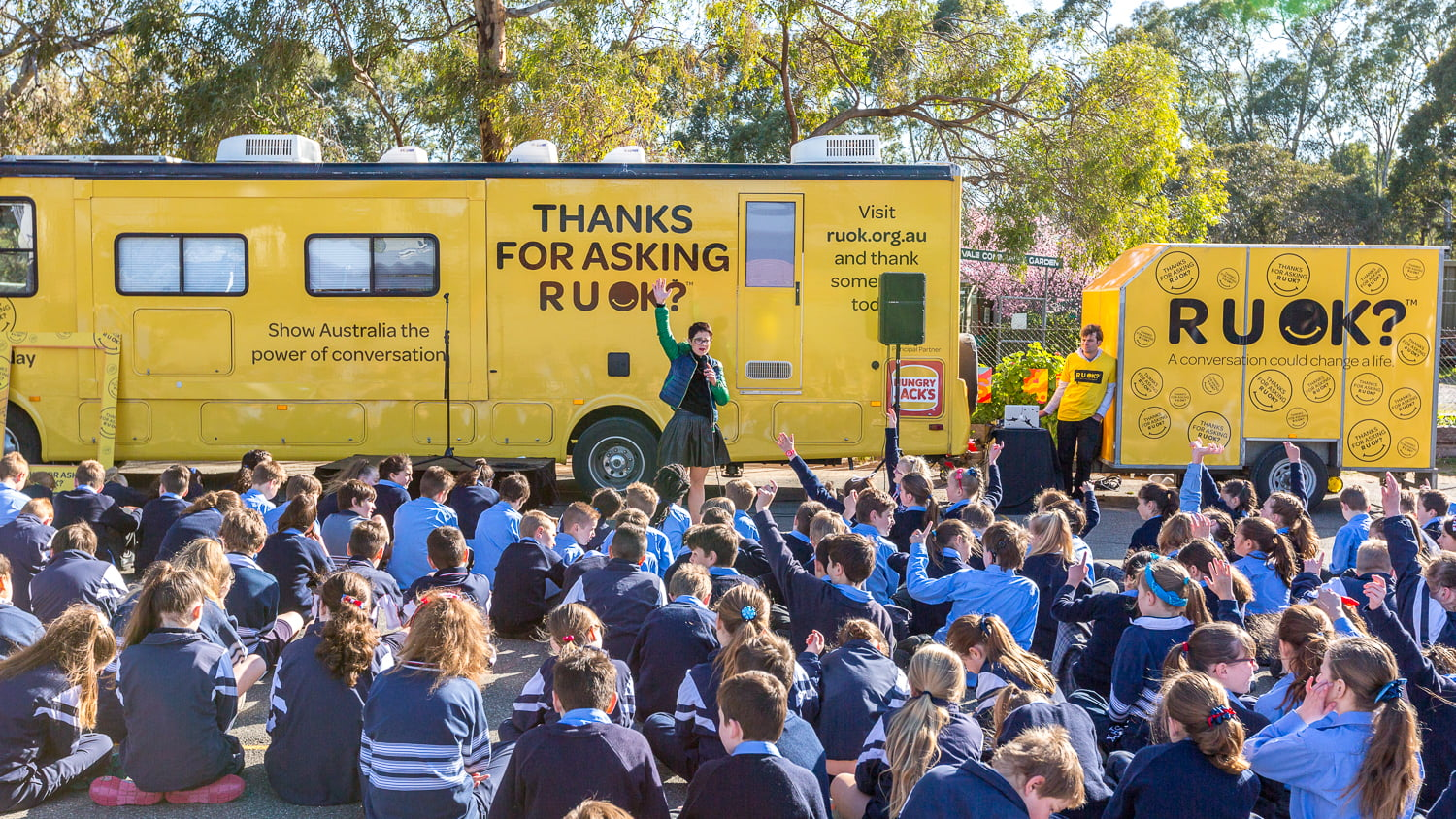 RUOK? Day helps prevent suicide - counsellor addresses kids by the yellow van