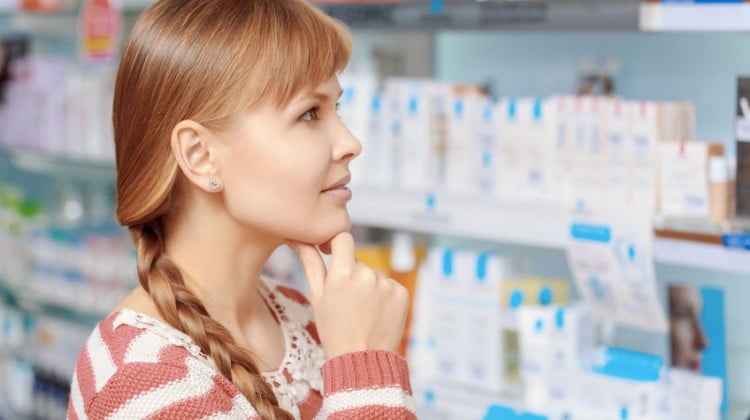 pharmacy customer looking thoughtful