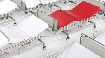 red hospital bed, white hospital beds