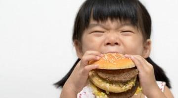 little girl eating a burger - Western diet