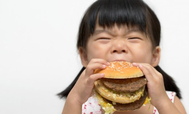 little girl eating a burger - Western diet