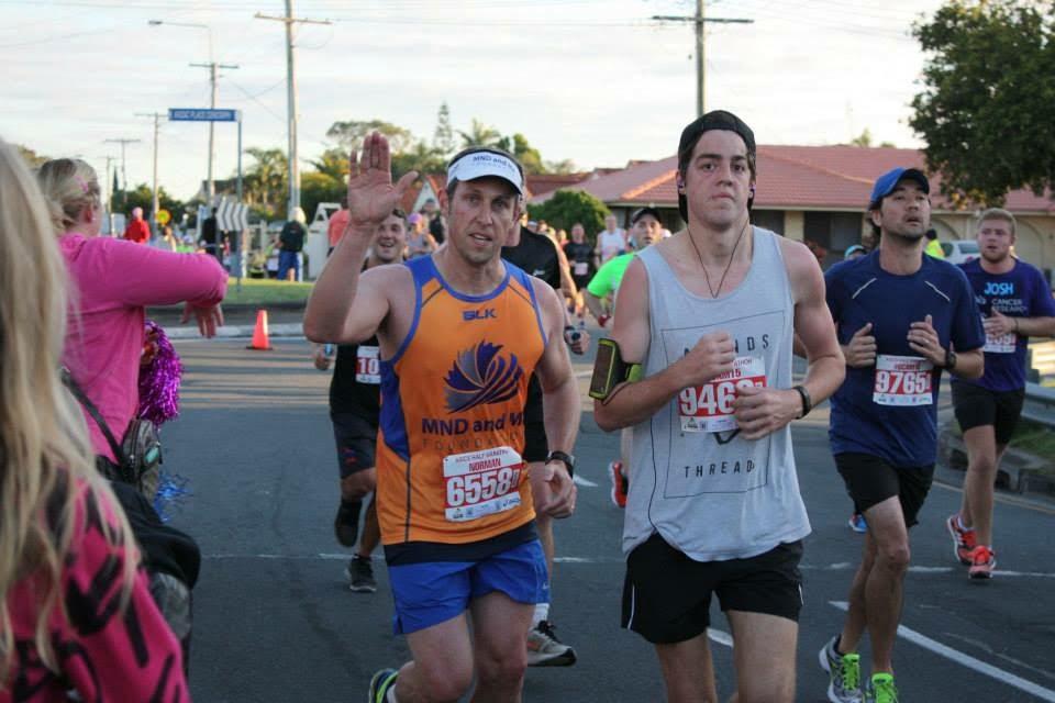 Norman Thurect runs a marathon