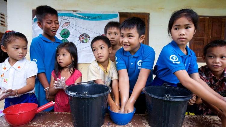handwashing kids in Laos
