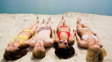 sunbathers: skin cancer concept