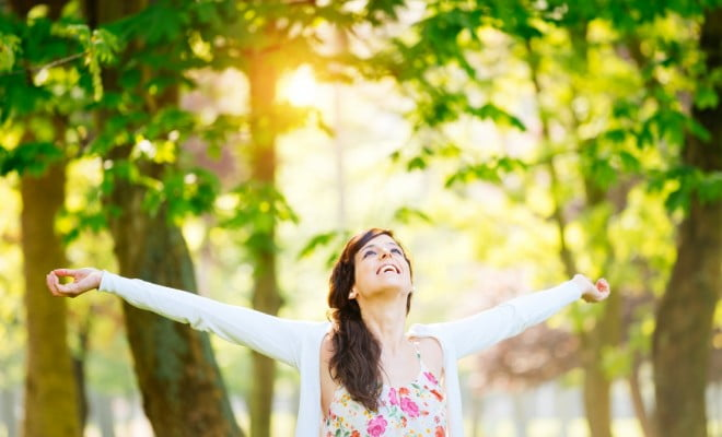 calcium and vitamin d: woman in the sunshine