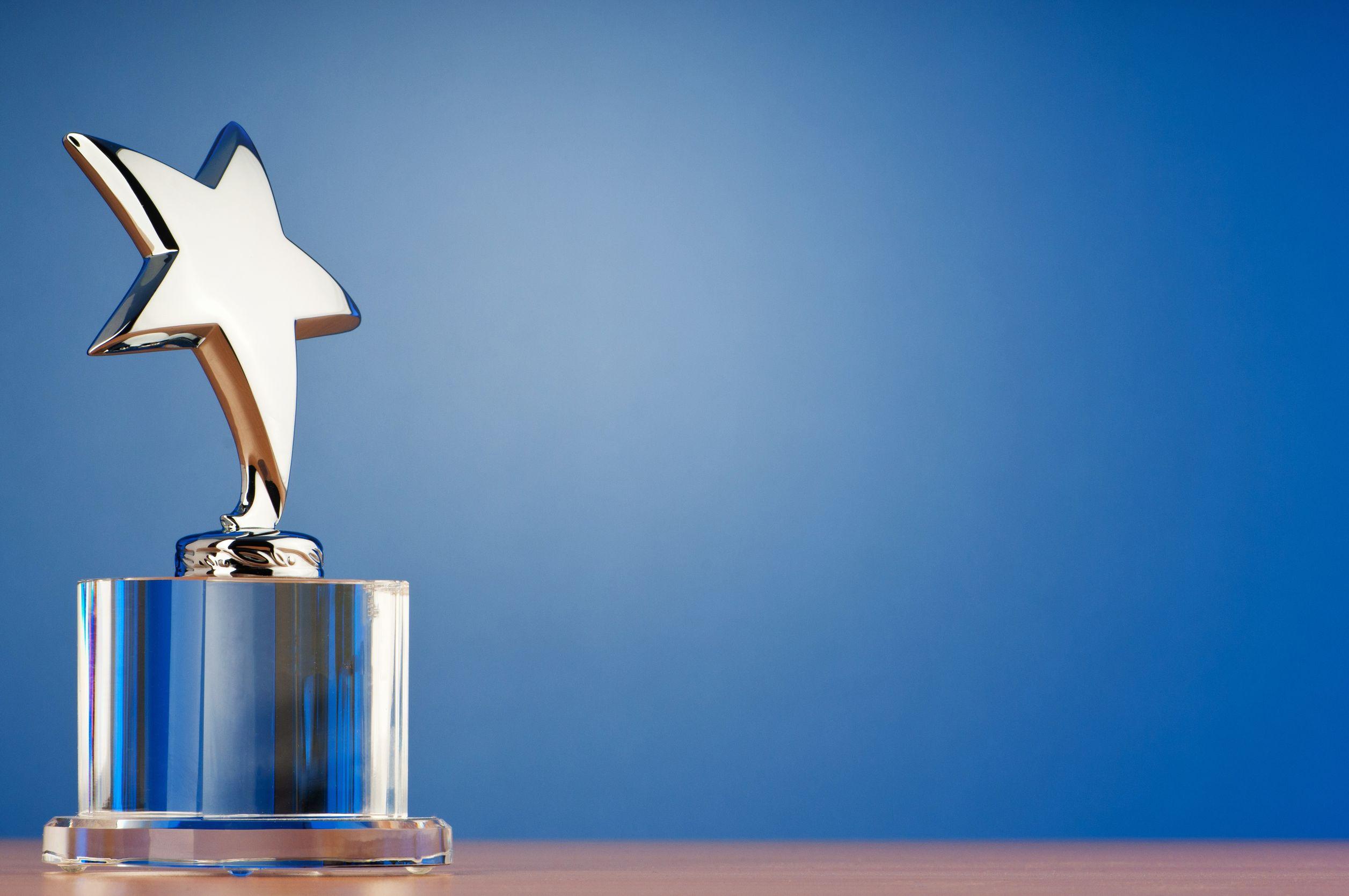 trophy on blue background