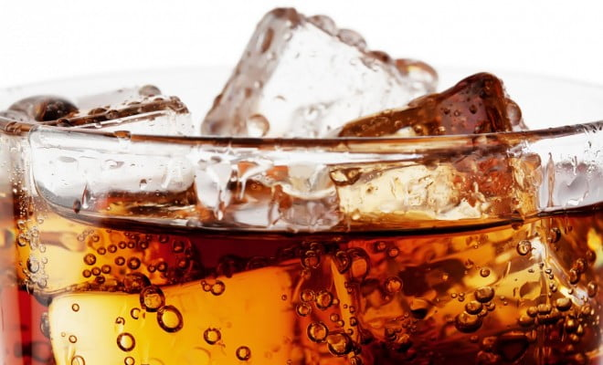 close-up of cola with ice