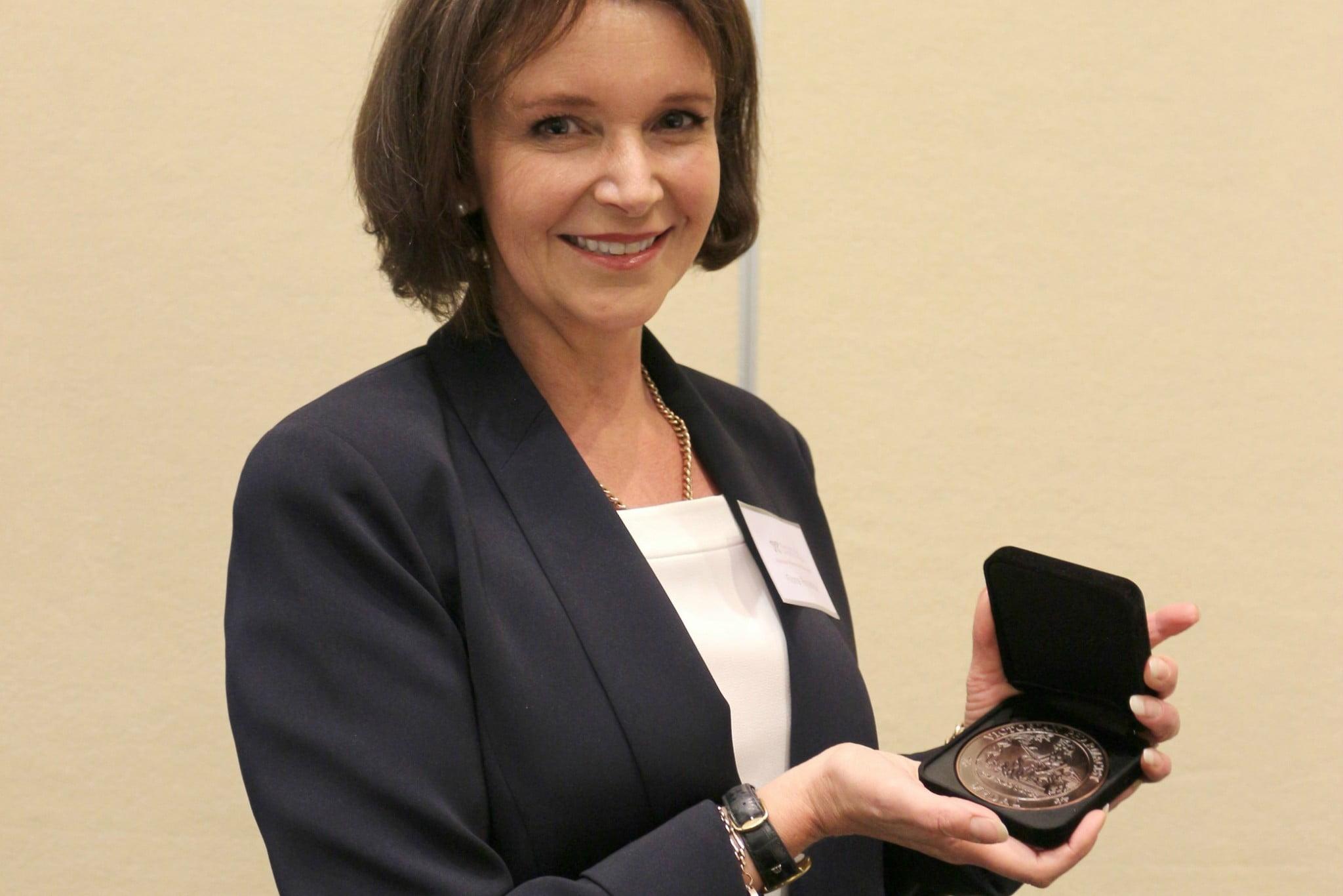 Fiona Robertson with award