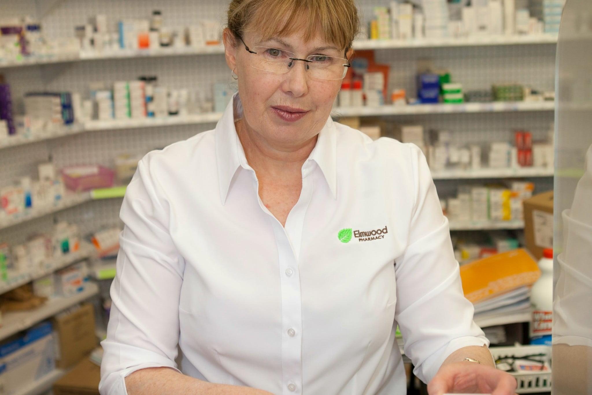 Annette Walkerden in the dispensary