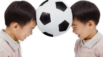 Boys with a soccer ball