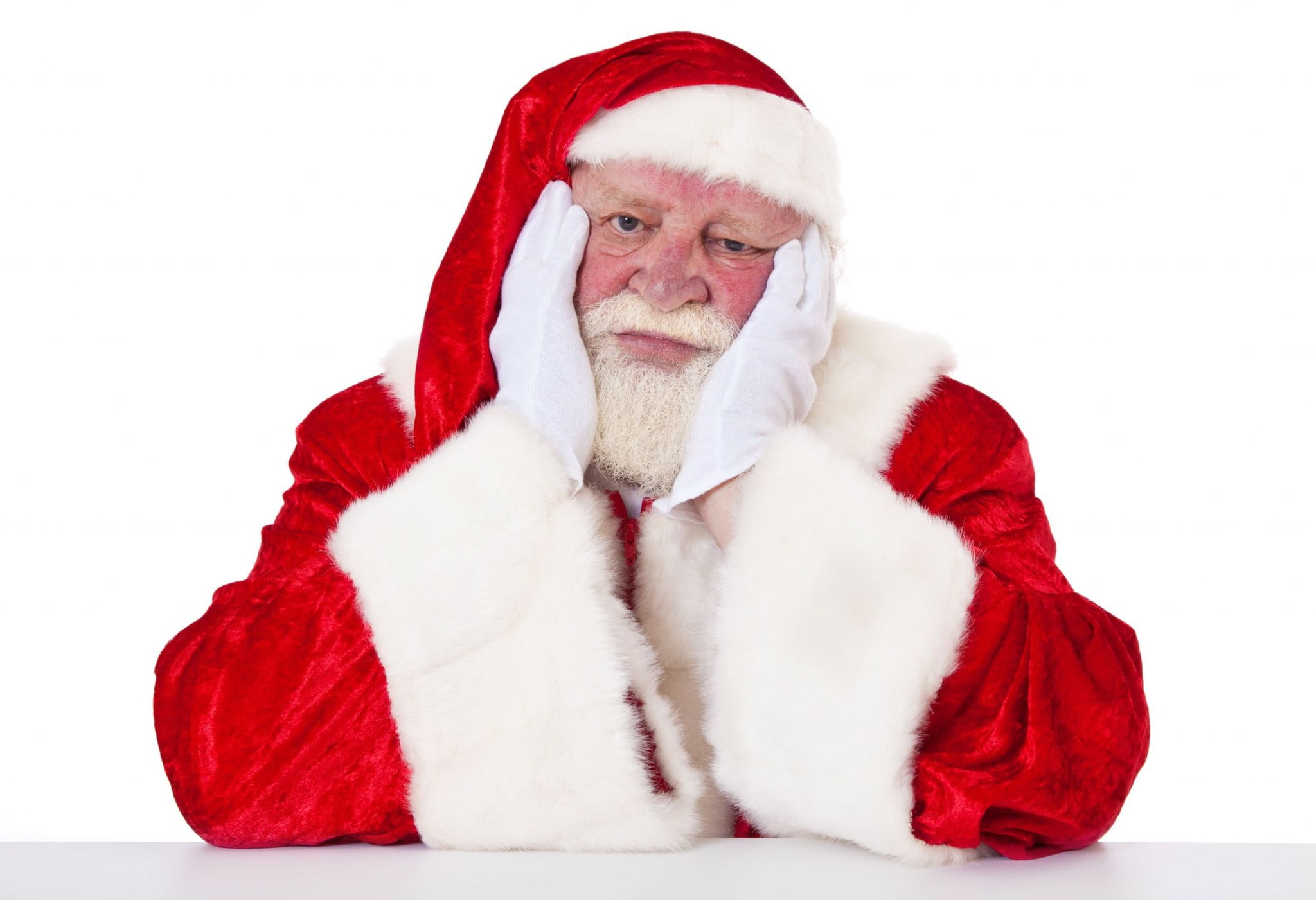 grumpy looking Santa